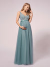 Women's A-Line V-Neck Floral Lace Appliques Maternity Dresses-Dusty Blue 1