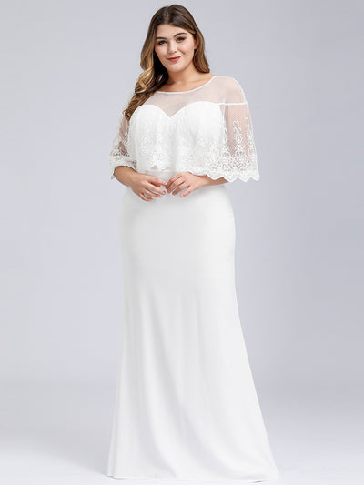 Plus Size Women's Sweetheart Illusion Ruffle Sleeves Floor-Length Bridesmaid Dress
