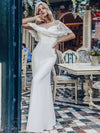 Women'S Sweetheart Illusion Ruffle Sleeves Floor-Length Wedding Dress-White 11