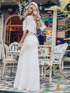 Women'S Sweetheart Illusion Ruffle Sleeves Floor-Length Wedding Dress-White 12