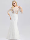 Ever-Pretty Illusion Wedding Dresses With Half Sleeve-Cream 2