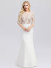 Ever-Pretty Illusion Wedding Dresses With Half Sleeve-Cream 3