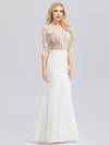 Ever-Pretty Illusion Wedding Dresses With Half Sleeve-Cream 1