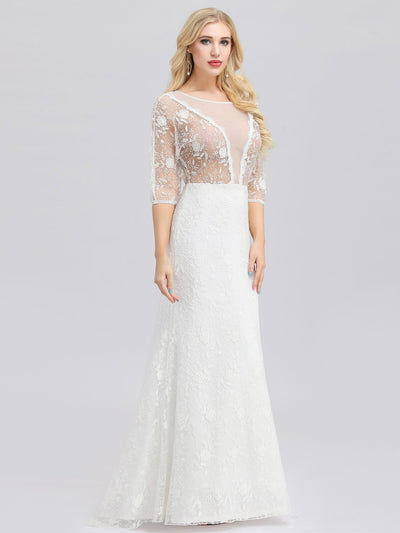 Ever-Pretty Illusion Wedding Dresses with Half Sleeve