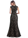 Women'S V-Neck Cap Sleeve Floor Length Bridesmaid Dress-Black 5