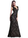 Women'S V-Neck Cap Sleeve Floor Length Bridesmaid Dress-Black 1