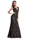 Women'S V-Neck Cap Sleeve Floor Length Bridesmaid Dress-Black 2