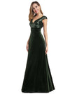 Simple V Neck Sequin Party Dress-Dark Green 3