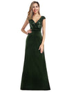 Simple V Neck Sequin Party Dress-Dark Green 1