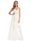 V-Neck Spaghetti Straps Lace Maxi Dress-Cream 7