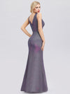 Deep V Neck Fishtail Evening Dress For Women-Periwinkle 2