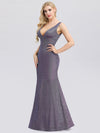 Deep V Neck Fishtail Evening Dress For Women-Periwinkle  3