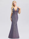 Deep V Neck Fishtail Evening Dress For Women-Periwinkle 4