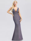 Deep V Neck Fishtail Evening Dress For Women-Periwinkle 1