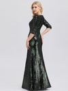 Women'S V-Neck 3/4 Sleeve Sequin Dress Floor-Length Evening Dress-Dark Green 5