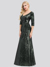 Women'S V-Neck 3/4 Sleeve Sequin Dress Floor-Length Evening Dress-Dark Green 1