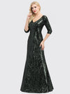 Women'S V-Neck 3/4 Sleeve Sequin Dress Floor-Length Evening Dress-Dark Green 2