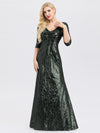 Women'S V-Neck 3/4 Sleeve Sequin Dress Floor-Length Evening Dress-Dark Green 4