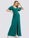 V Neck Evening Dress With Ruffles Sleeve And High Slit-Turquoise 1
