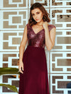 V Neck Sleeveless Floor Length Sequin Party Dress-Burgundy 2