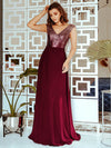 V Neck Sleeveless Floor Length Sequin Party Dress-Burgundy 3