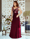 V Neck Sleeveless Floor Length Sequin Party Dress-Burgundy 4