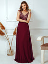 V Neck Sleeveless Floor Length Sequin Party Dress-Burgundy 5