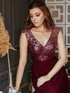 V Neck Sleeveless Floor Length Sequin Party Dress-Burgundy 6