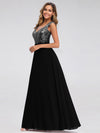 V Neck Sleeveless Floor Length Sequin Party Dress-Black 3