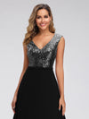 V Neck Sleeveless Floor Length Sequin Party Dress-Black 5