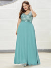 V Neck Sleeveless Floor Length Sequin Party Dress-Dusty Blue 3