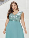 V Neck Sleeveless Floor Length Sequin Party Dress-Dusty Blue 10