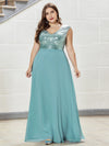 V Neck Sleeveless Floor Length Sequin Party Dress-Dusty Blue 6