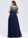 V Neck Sleeveless Floor Length Sequin Party Dress-Navy Blue 7