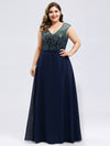 V Neck Sleeveless Floor Length Sequin Party Dress-Navy Blue 8