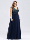 V Neck Sleeveless Floor Length Sequin Party Dress-Navy Blue 9