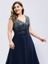 V Neck Sleeveless Floor Length Sequin Party Dress-Navy Blue 10