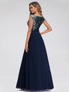 V Neck Sleeveless Floor Length Sequin Party Dress-Navy Blue 4