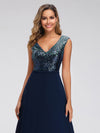 V Neck Sleeveless Floor Length Sequin Party Dress-Navy Blue 5