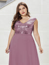 V Neck Sleeveless Floor Length Sequin Party Dress-Purple Orchid 5