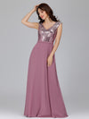 V Neck Sleeveless Floor Length Sequin Party Dress-Purple Orchid 3