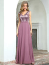 V Neck Sleeveless Floor Length Sequin Party Dress-Purple Orchid 1