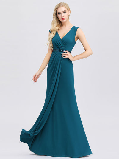 Deep V Neck Floor Length Fishtail Party Dress