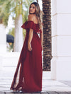 Women'S A-Line Off Shoulder Ruffle Thigh Split Bridesmaid Dress-Burgundy 2