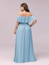 Women'S A-Line Off Shoulder Ruffle Thigh Split Bridesmaid Dress-Sky Blue 7