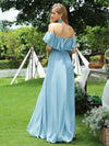 Women'S A-Line Off Shoulder Ruffle Thigh Split Bridesmaid Dress-Sky Blue 5