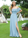 Women'S A-Line Off Shoulder Ruffle Thigh Split Bridesmaid Dress-Sky Blue 4
