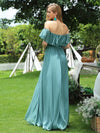 Women'S A-Line Off Shoulder Ruffle Thigh Split Bridesmaid Dress-Dusty Blue 2