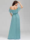 Women'S A-Line Off Shoulder Ruffle Thigh Split Bridesmaid Dress-Dusty Blue 7