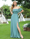 Women'S A-Line Off Shoulder Ruffle Thigh Split Bridesmaid Dress-Dusty Blue 1